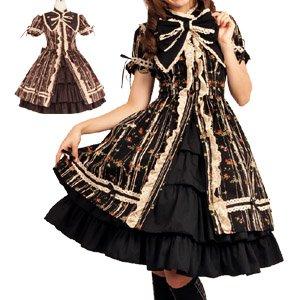 大きなリボン襟が個性的です。ナターシャ小花ドレス L324 ゴスロリ ロリータ パンク コスプレ コスチューム メイド ブラウン 2l