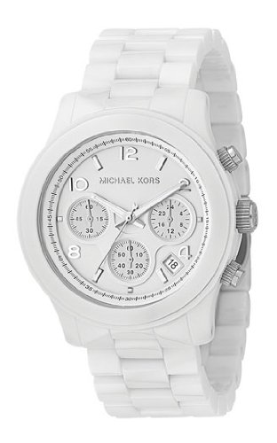 Michael Kors Mk5163 Unisex Watch with White Ceramic Bracelet and White Dial