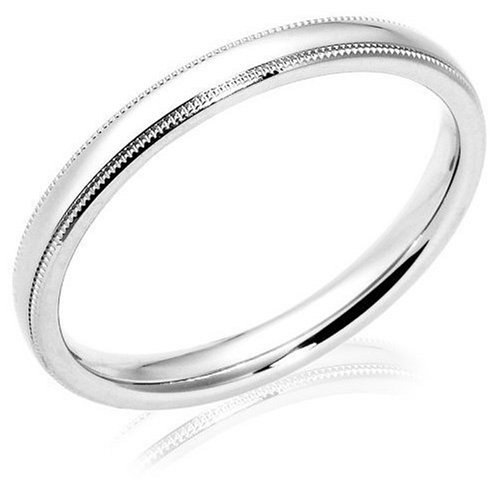 Platinum 3mm Comfort Fit Milgrain Women's Wedding Band
