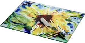 LSArts Rectangular Cheese Cutting Board, Sunflower, 10 by 8-Inch