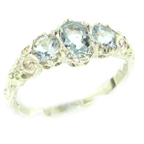 Ladies Solid Sterling Silver Natural Aquamarine