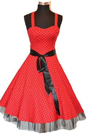 Rockabilly kleid 50s Groß Polka Dot Schwarz Weiß Abendkleid Cocktail Kleid GR.XS/S/M/L/XL/XXL
