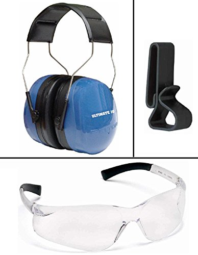 Peltor 97010 Ultimate 10 Blue Adjustable Folding Earcup Earmuff Ear Muff NRR 30 dB + Ultimate Arms Gear Tactical Shooting Clear Frame Lens Safety Glasses Eye Eyewear Protection Protective + Shooting Earmuffs Hearing Headsets & Glasses Belt Waist Strap Clip Holder- Combo Combination Package Kit Set