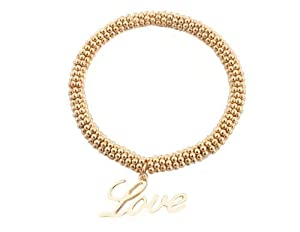 2 Pieces of Goldtone Love Charm Loops Style Stretch Bracelet