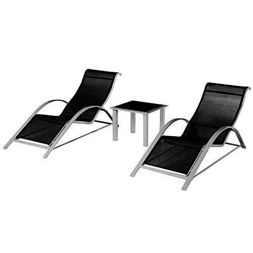 2x-Sonnenliege-Gartenliege-Liegestuhl-Strandliege-Liege-1-Glastisch-Garten