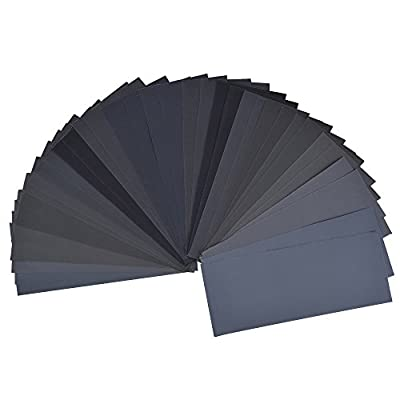 36 Pieces 400 to 3000 Grit Sandpaper Assortment, Dry/ Wet, 9 x 3.6 Inch, for Automotive Sanding, Wood Furniture Finishing and Wood Turning Finishing by LANHU
