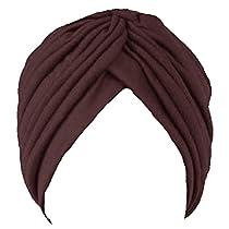 Luxury Divas Brown Radiant Pleated Turban Hat Head Cover Sun Cap