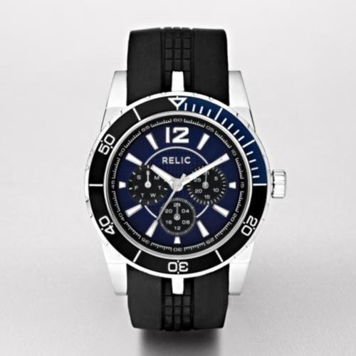 RELIC Hunter Blue Dial Black Silicone Strap Multifunction Watch