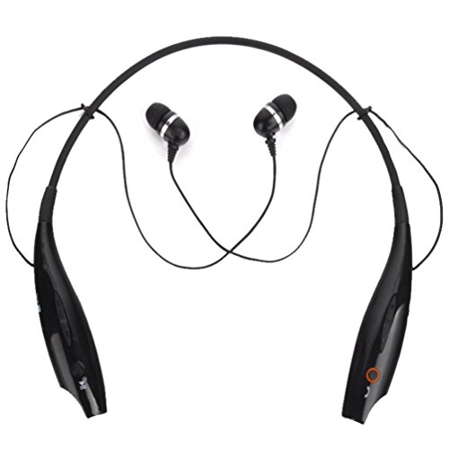 Sino(Tm) Universal Hbs-730 Wireless Music A2Dp Stereo Bluetooth Headset Universal Vibration Neckband Style Headset Earphone Headphone For Cellphones Such As Iphone, Nokia, Htc, Samsung, Lg, Moto, Pc, Ipad, Psp And So On & Enabled Bluetooth (Black, Hbs-730