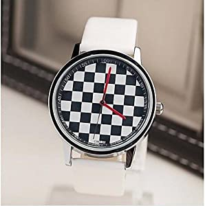 Men's Fashion Contracted Black White Squares Belt Watch ( Color : White )