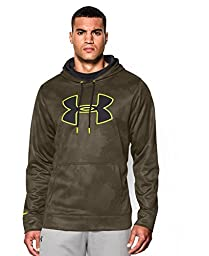Under Armour Men\'s Armour Fleece Big Logo Pattern Hoodie, Large, Marine Od Green/Black/High-Vis Yellow