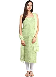 Nandini's Light Green Lucknawi Chikan Flowy Cotton Hand Embroidered Dress Material/ Unstitched Salwaar Kameez with Pure Chiffon Dupatta by SHENARO Lifestyle