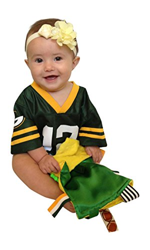 Sensory Baby Tag Blanket, Football Inspired Green and Gold for Green Bay Packers Baby Fan
