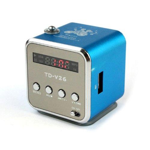 Doinshop Fashion New Portable Micro Sd Tf Usb Mini Stereo Speaker Music Player Fm Radio Pc Mp3 (Blue)