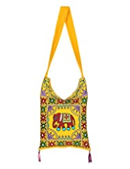 Rajrang Indain Designs Elephant Printed Cotton Embroidered Work Yellow Sling Bag