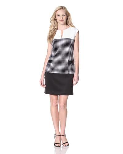 Sandra Darren Women's Techno Colorblock Houndstooth Dress  - Ivory/Black