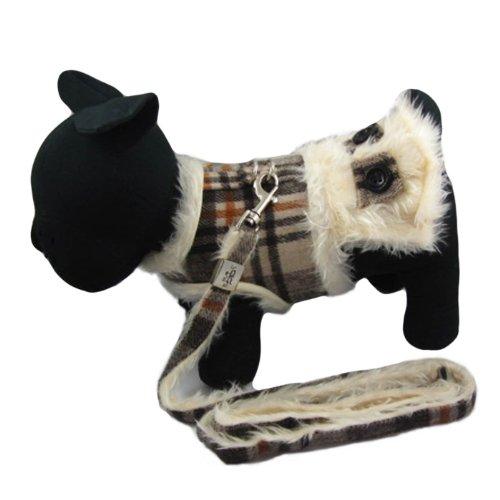 Alfie Couture Designer Pet Accessory - Keri Harness Vest And Leash Set - Color: Brown Plaid, Size: M front-864114