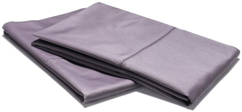 Pinzon Hemstitch 400-Thread-Count Egyptian Cotton Sateen Standard Pillowcase, Set Of 2, Plum