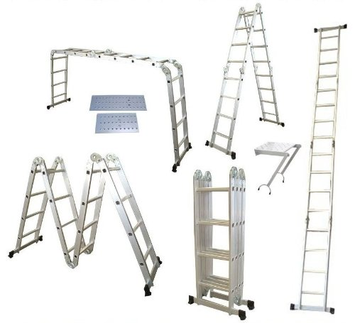Quality 4.75M 14 in 1 Multi Purpose Folding Aluminium Ladder Multi Function with 2 Scaffold Working Plates and 1 Tool Tray