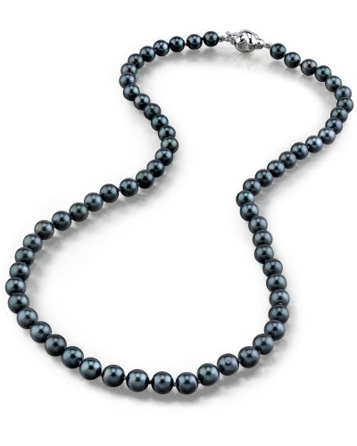 14K Gold 5.0-5.5mm Japanese Akoya Black Cultured Pearl Necklace - AA+ Quality, 16 Inch Choker Length