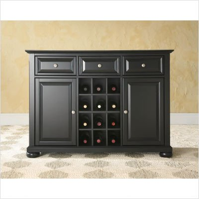 Crosley Furniture Alexandria Buffet Server , Sideboard Cabinet in Black Finish