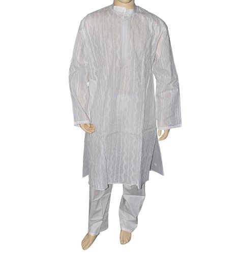 Indian 'White Chikan Kurta Pajama in Cotton from India Chest Size: 127 cms