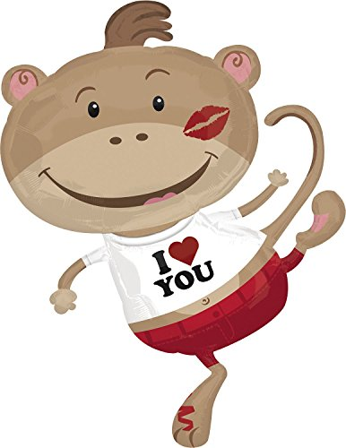 "I Love You Kiss Monkey Valentines Day 34"" Mylar Balloon - 1"