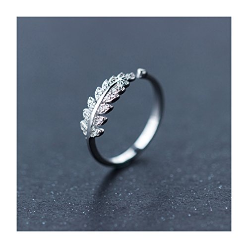 SmallDragon Women's 925 Sterling Silver Cubic Zirconia Leaf Tail Ring (Adjustable) (Silver Leaf Ring compare prices)