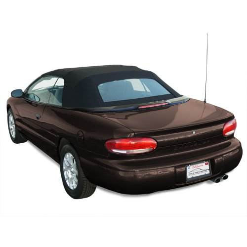 Chrysler Sebring Convertible Top for 96-00 Models in Sailcloth Vinyl with Glass Window, Black