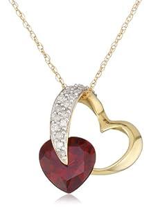 10k Yellow Gold Heart Garnet and Diamond Pendant Necklace, 18
