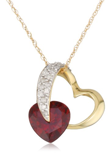 10k Yellow Gold Diamond and Garnet Heart-Shaped Pendant, 18""