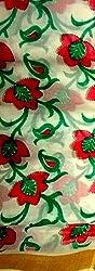 Monash Creations Cotton Saree (Mc35 _White And Red)