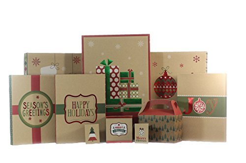 Christmas Gift Box Set - 44 Count Kraft Christmas Supplies Bundle Includes Gi...
