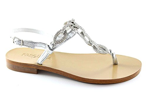 PREGUNTA IAU02 argento scarpe donna sandali pelle cinturino strass 40