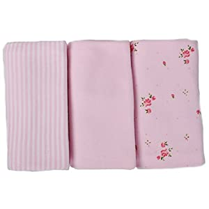 Minene Uk Burp Cloths with Flowers (Pink)