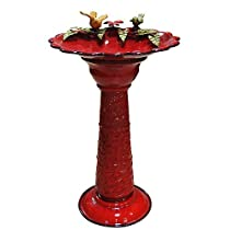 Big Sale Red Metal Birdbath