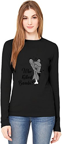 Who killed Bambi T-Shirt da Donna a Maniche Lunghe Long-Sleeve T-shirt For Women| 100% Premium Cotton| DTG Printing| X-Large