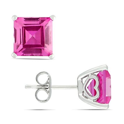 Sterling Silver 6 1/2 CT TGW Created Pink Sapphire Fashion Earrings