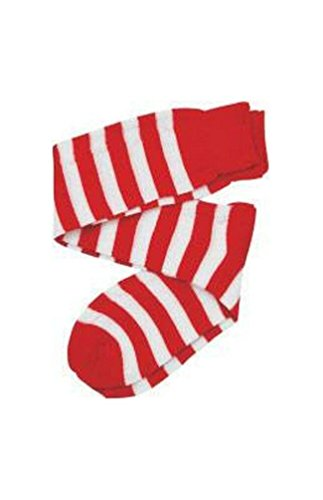 Kids Red/White Striped Knee Socks - 1