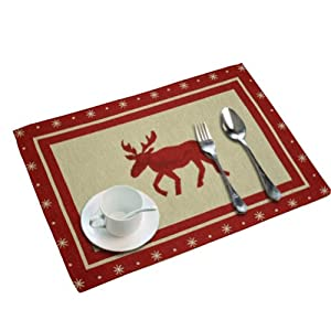 Set Of 6 Creative Red And White Elk Placemats Christmas
