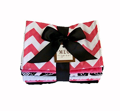 Meg Original Baby Girl Burp Cloth Set Of 6, Hot Pink & Black Chevron