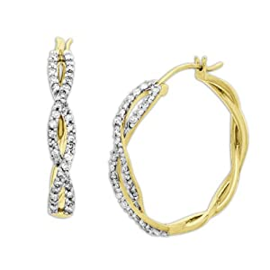 10k Yellow Gold Diamond Twist Design Hoop Earrings (1/2 cttw, I-J Color, I2-I3 Clarity)