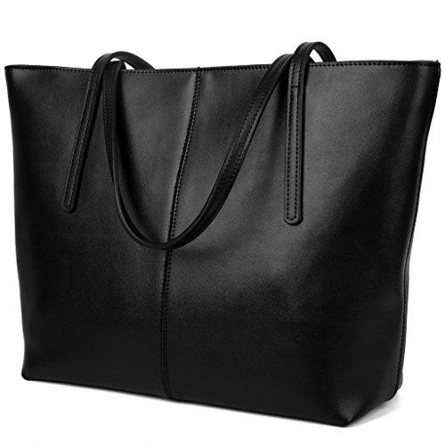 Yaluxe Donna semplicemente Pelle Shopper elegant Borse a mano Borse a tracolla nero