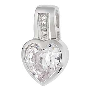 Schmuck-Pur 925/- Sterling-Silber Damen Anhänger Herz verziert mit klaren Zirkonia