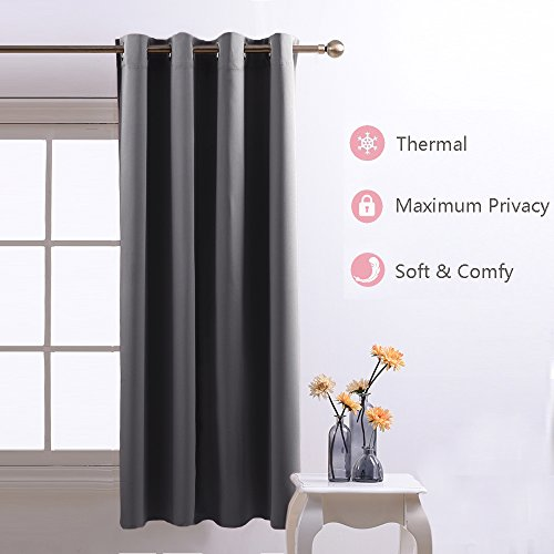 Nicetown Room Darkening Blackout Curtains Window Panel Drapes - (Grey Color) 1 Panel, W52 x L63 Inch each panel, 8 Grommets / Rings per panel (Window Curtains Bedroom compare prices)