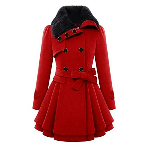 ZX Fashion Red Woolen coat for women