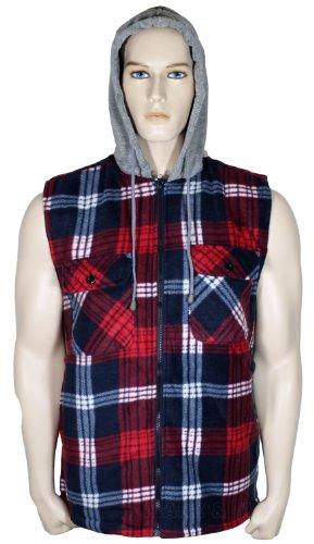 Mens Sleeveless Hoodie Padded Shirt (Large, Red)