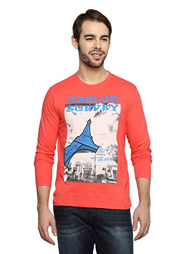Teen Tees Men's Cotton Graphic Print Coral Colour Full Sleeves Round Neck Tshirt