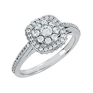 IceCarats Designer Jewelry 1/2 Ctw Diamond Cluster Halo-Styled Ring Size 6