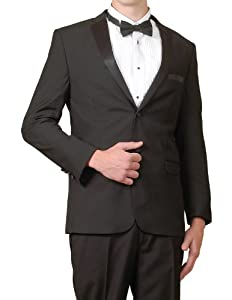 Modern Black 2 Button Slim Fit Tuxedo Suit - Gay Wedding Suit
